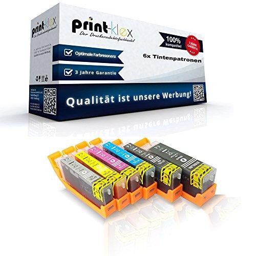 6x compatibele XXL inktpatronen voor Canon PGI570PGBK CLI571BK CLI571C CLI571M CLI571Y CLI571GY gepigmenteerd zwart blauw rood geel grijs - Print Pro Serie