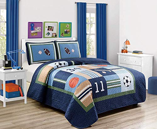 Elegant Home Multicolor Sports Soccer Basketball Baseball Football Design 2 Piece Coverlet Bedspread Quilt for Kids Teens Boys # Sports Navy (Twin Size)