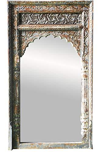 Espejo de pared oriental Inara 122 cm, grande, gris, gran espejo de pasillo marroquí con marco de madera decorado oriental estilo oriental, espejo de baño sin iluminación como decoración oriental