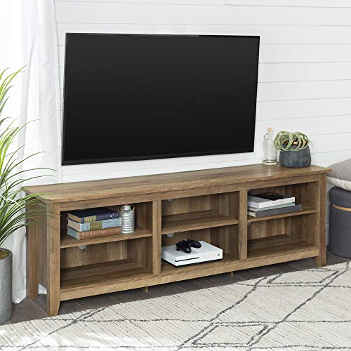 "Walker Edison Furniture Company Minimal Farmhouse Wood Universal Stand for TV's up to 80"" Flat Screen Living Room Storage Shelves Entertainment Center, 70 Inch, Reclaimed Barnwood"