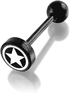 Star Logo Button Blackline 316L Surgical Steel Tongue Piercing jewelry