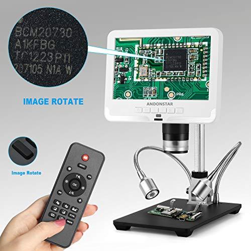 Andonstar AD206 Microscopio Digital 7 Pulgadas Pantalla LCD Herramientas de Soldadura con Lupa Digital para reparación de teléfonos con Placa de Circuito, Blanco
