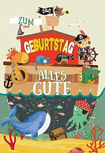 KE - Geburtstagskarte Piraten für Jungen - Glückwunschkarte zum Geburtstag - Geburtstagskarte Kinder - Kindergeburtstag - DIN B6 - Klappkarte inkl. Umschlag