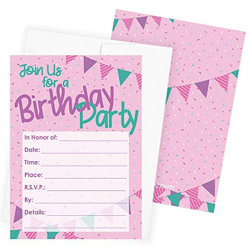 Happy Birthday Party Invitations - Girly Pink Purple Teal Sprinkles -...