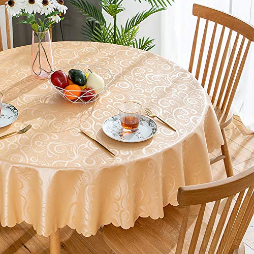 Cozomiz Jacquard Spillproof Tablecloth Round Stain Wrinkle Resistant Table Cover Waterproof Tablecloths for Kitchen Dinning Tabletop Decoration Round£º125 Inch Champagne