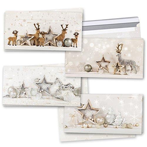Logbuch-Verlag zestaw kartek bożonarodzeniowych, 2 x 4 świąteczne składane kartki z pozdrowieniami, Boże Narodzenie, złoty, srebrny, szary, renifer Shabby Chic, DIN długa z kopertą