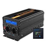 EDECOA Spannungswandler 24V 230V Reiner Sinus 2000W Wechselrichter 24V 230V mit LCD-Bildschirm und Fernbedienung Spannungswandler Reiner Sinus