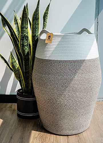 Goodpick Wäschekorb Groß Aufbewahrung Korb Geflochten aus Baumwoll für Schmuzige Kleidung in der Waschküche 65cm hoch, Weiß und Braun