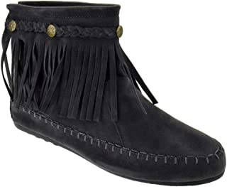 SHOEDEZIGNS Western 19 Womens Fringe Moccasin Ankle Booties