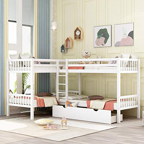LZ LEISURE ZONE Twin Over Twin Bunk Bed with Drawers, Wood L-Shaped Bunk Bed Twin Size Bunk Bed Frame for Kids/Teens, No Box Spring Needed (White, Twin Bunk with Drawers)