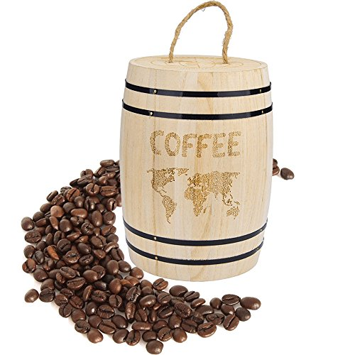 ☀ Dergo ☀Bean Container,Fresh Coffee Bean Airtight Container Wooden For Coffee Beans Grounds
