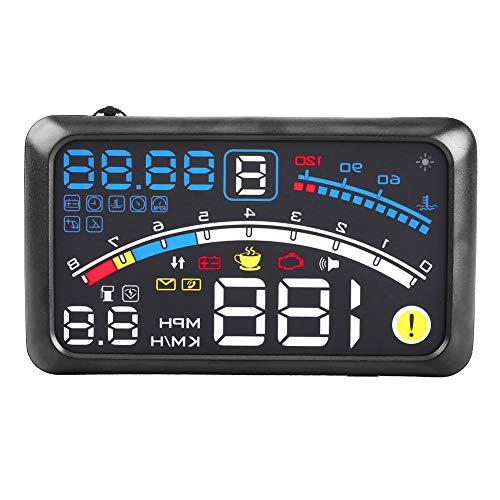"""Yosoo Health Gear Car Hud Head Up Speed Display, 5.5"""" HD Obd2 Car Hud Head Up Display, Advertencia de Exceso de Velocidad Plug & Play, Medición de Kilometraje, Temperatura del Agua, Voltaje"""