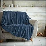Hachete Waffle Honeycomb - Manta suave y cálida para sofá cama, cama (200 x 240 cm), color azul marino