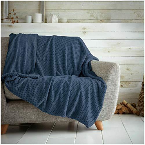 Hachete Coperta a nido d'ape morbida e calda coperta da viaggio per divano letto (blu navy, king size, 200 x 240 cm)