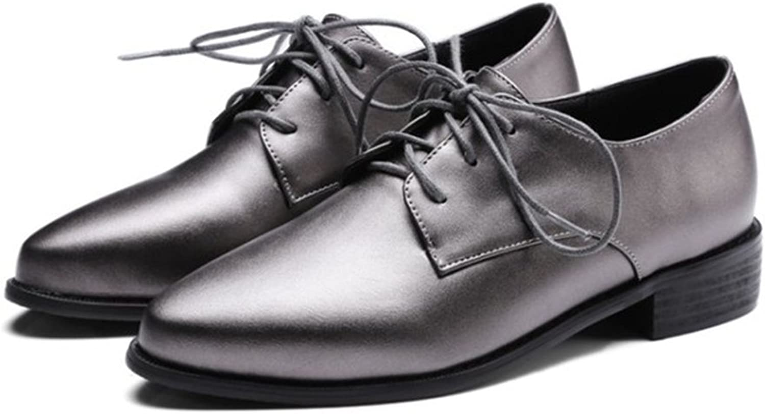 T-JULY Women's Fashion Oxfords shoes - Comfy Lace-up Slip On Low Heel Pointed Toe Wingtip shoes