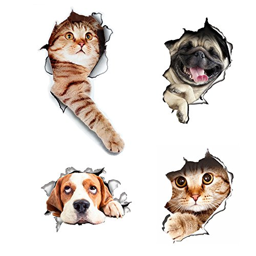 3D Wall Decals Stickers Hole View Vivid Cat and Dog Decals Removable Art Stickers for Bathroom Room/Kids Room/Refrigerator Decoration 4pcs