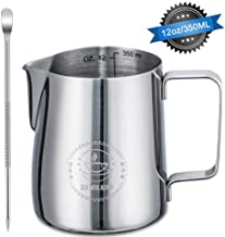 Stainless Steel Milk Frothing Pitcher 12oz/ 350ml Steaming Pitchers with Decorating Art Pen, Milk Coffee Cappuccino Latte Art Barista Steam Pitchers Milk Jug Cup for Espresso Machines Latte Art