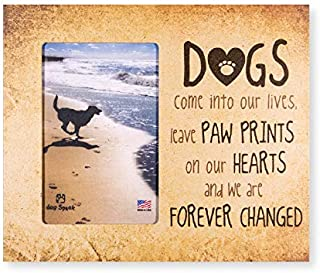 """9.5"""" x 8"""" Vertical Wooden Dog Cat Pet Picture Frame Holds 6x4 Picture Wall or Tabletop MADE IN THE USA (Paw Prints on Our Hearts)"""