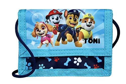 Geldbeutel mit Namen | inkl. NAMENSDRUCK | Motiv Hund | Personalisieren & Bedrucken | Umhängegeldbeutel Geldbörse zum Umhängen für Kinder Jungen Mädchen blau Rettungs-Hunde