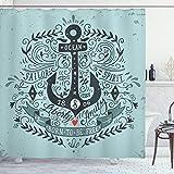 ABAKUHAUS Marine Duschvorhang, Vintage and Anchor, Wasser Blickdicht inkl.12 Ringe Langhaltig Bakterie & Schimmel Resistent, 175 x 200 cm, Türkis