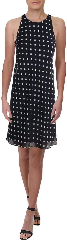 Lauren Ralph Lauren Womens Geminah Sleeveless Polka Dot Party Dress