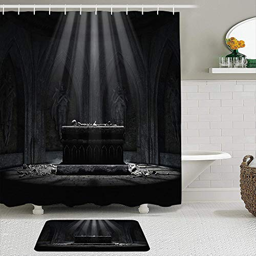 SHENGLIPINK Fabric Shower Curtain and Mats Set,Coffin Church Coffin Skull Bone,Waterproof Bath Curtains with 12 Hooks,Non Slip Rugs