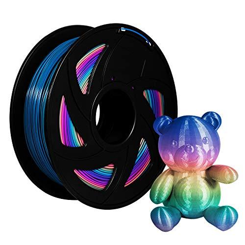 XVICO PLA Filaments Rainbow 3D Printer pla spools,1.75mm Filament 2.2 LBS 1KG, Rainbow Color…