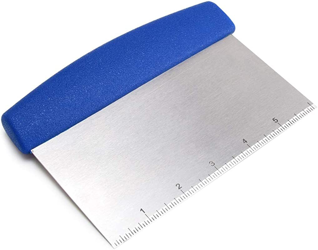 Multi Purpose Stainless Steel Pizza Dough Bench Scraper Cutter With Blue Polypropylene Handle