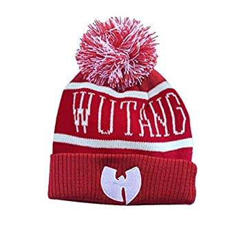 WOJWSKI Beanie Hat for Womens Thick Knitted Hat Men Winter Hats Soft Warm Skull Wu Tang Caps with Pom Pom  Red