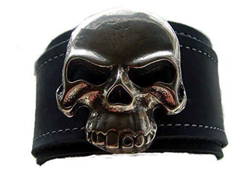 Lederarmband 4,7cm breit XXLbig Skull Fat Boy Farbe schwarz