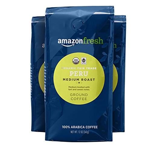 AmazonFresh Organic Fair Trade Peru Ground Coffee, Medium...