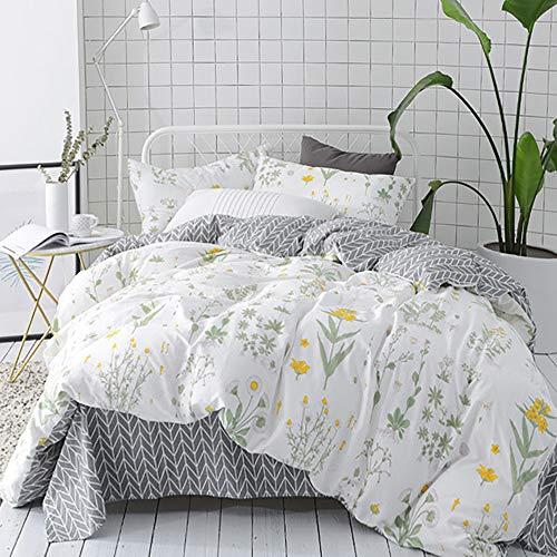CLOTHKNOW Girls Duvet Cover Twin Size Yellow Flower Botanical Floral Duvet Cover Sets Kids Beding 100 Cotton 3 Pieces - 1 Duvet Cover Zipper 2 Pillowcases NO Comforter