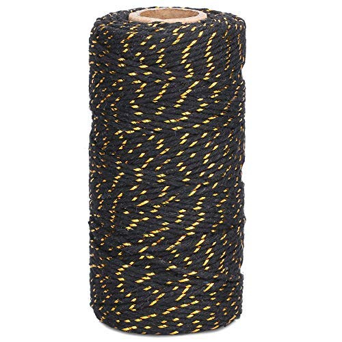 Gold and Black Twine,100M/328 Feet 2 mm Cotton Baker's Twine,Christmas String,Heavy Duty Packing String for DIY Crafts and Gift Wrapping