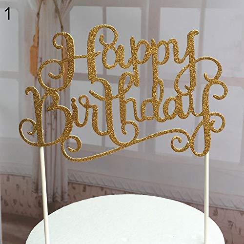 tianxiangjjeu Taart Topper Glanzende Gelukkige Verjaardag Brieven Verjaardag Party Decoraties Goud