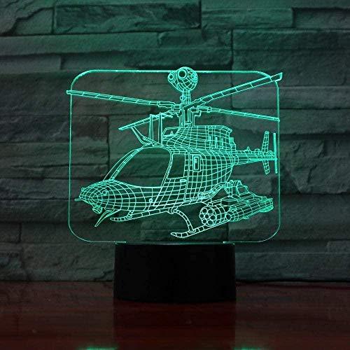 Lámpara de ilusión LED de helicóptero de luz nocturna 3D 7 colores Lámpara de ambiente de luz de ambiente Decoración del hogar Lámpara de mesa para niños-Remoto