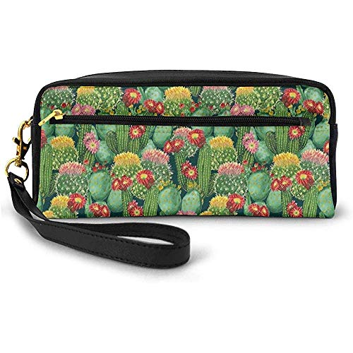 Gartenblumen Kaktus Texas Desert Botanic Verschiedene Pflanzen Mit Spikes Pattern Kleine Kosmetiktasche Federmäppchen 20 cm * 5,5 cm * 8,5 cm