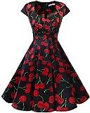 Bbonlinedress Women's Vintage 1950s cap Sleeve Rockabilly Cocktail Dress Multi-Colored Black Red Cherry XS