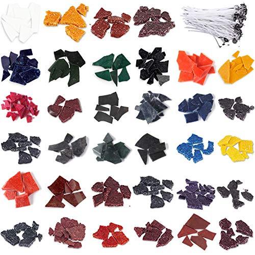 Kalolary Tinte de Cera para Velas, Tintes para Velas para Hacer Velas, 34 Tintes para Velas de Colores para Hacer Velas con 100 Piezas Mechas para Velas para Suministros de Hacer Velas de Bricolaje