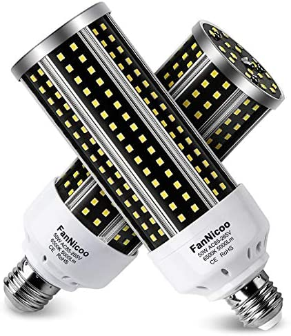 LED Corn Light Bulb 2 Pack 500W Equivalent Cool Bright Daylight White 50W 6500K 5000 Lumen E26 product image