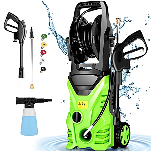 Pressure Washer Homdox 2950 PSI Electric Pressure Washer 1800W High Pressure Washer 1.70 GPM Power Washer with 5 Nozzles, Hose Reel, for Home/Car/Garden/Patio/Deck(Green)