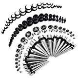 BodyJ4You 72PC Gauges Kit Black White Acrylic Plugs Stainless Steel Tapers 14G-00G Stretch...