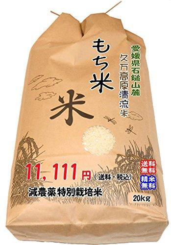 愛媛 石鎚山麓 久万高原 清流米 減農薬 特別栽培米 令和3年産 ( もち米 ) 玄米20kg 高原清流が育んだお米 宇和海の幸問屋
