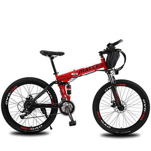 LOVE-HOME Plegable Bicicleta De Montaña Eléctrica, 26 Pulgadas De 36V / 12Ah Bicicletas Eléctrica con La Bolsa Extraíble De Iones De Litio, 3 Modos De Ciclo Resistencia 40-50KM,Rojo