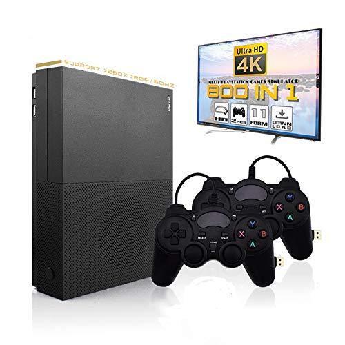 MJKJ Retro Game Console , 4K HDMI TV Output Video Game Console Built-in 843 Classic Game Console with 2PCS Joystick - Black