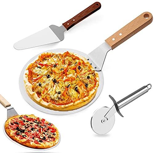Empujador De Pizza Pala Para Pizza De Acero Inoxidable, Levantador De Pizza Redondo Espátula Para Pizza Con Mango De Madera Paleta Pizza Levantador Pastel Cortador Rueda Para Hornear Pizza Pasteles