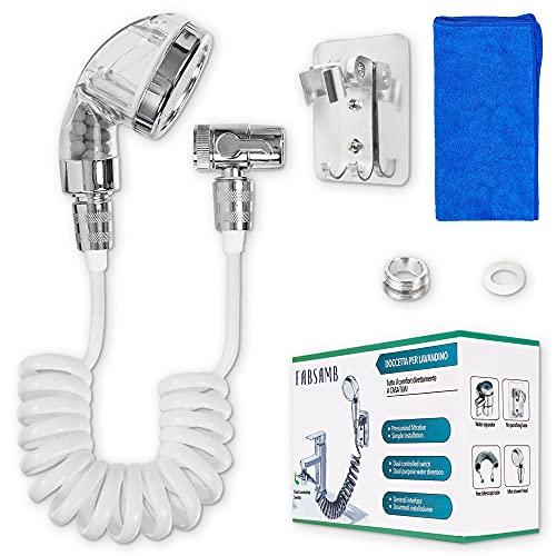 Fabsamb Kit de ducha para lavabo de iones negativos con paño de microfibra incluido, juego universal de ducha de esferas minerales con desviador de grifos, lavabo, baño, lavacabezas de ducha