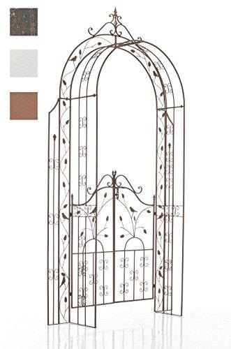 CLP Eisen-Rosenbogen Grenada mit Eingangspforte I Torbogen mit stilvollen Verzierungen I Rankhilfe im Landhausstil I erhältlich Antik Braun