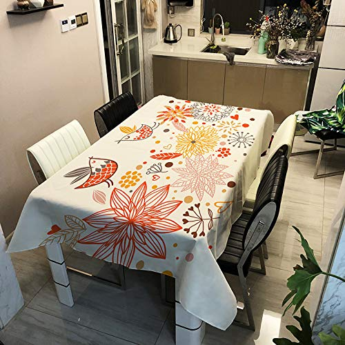 Modern Simple Polyester Waterproof Tablecloth Tree Flower And Bird Printing Table Mat Rectangular Multifunctional Tablecloth