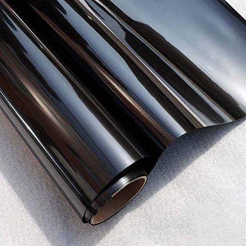 FENTIS Sonnenschutzfolie Spiegelfolie Verdunkelungsfolie Fensterfolie Tönungsfolie Selbstklebend UV-Schutz Privacy Glasfensteraufkleber Schwarz für Haus und Büro 45x200cm
