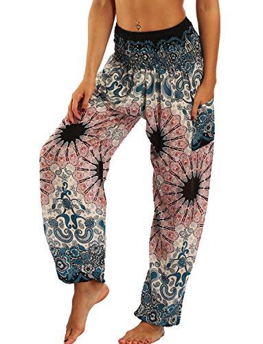 TIANNBU Hippie Harem - Pantaloni da yoga da donna, sottili Rosa Blume Taglia Unica